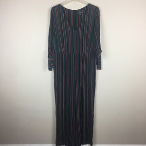 Wild Fable green striped jumpsuit/ romper
